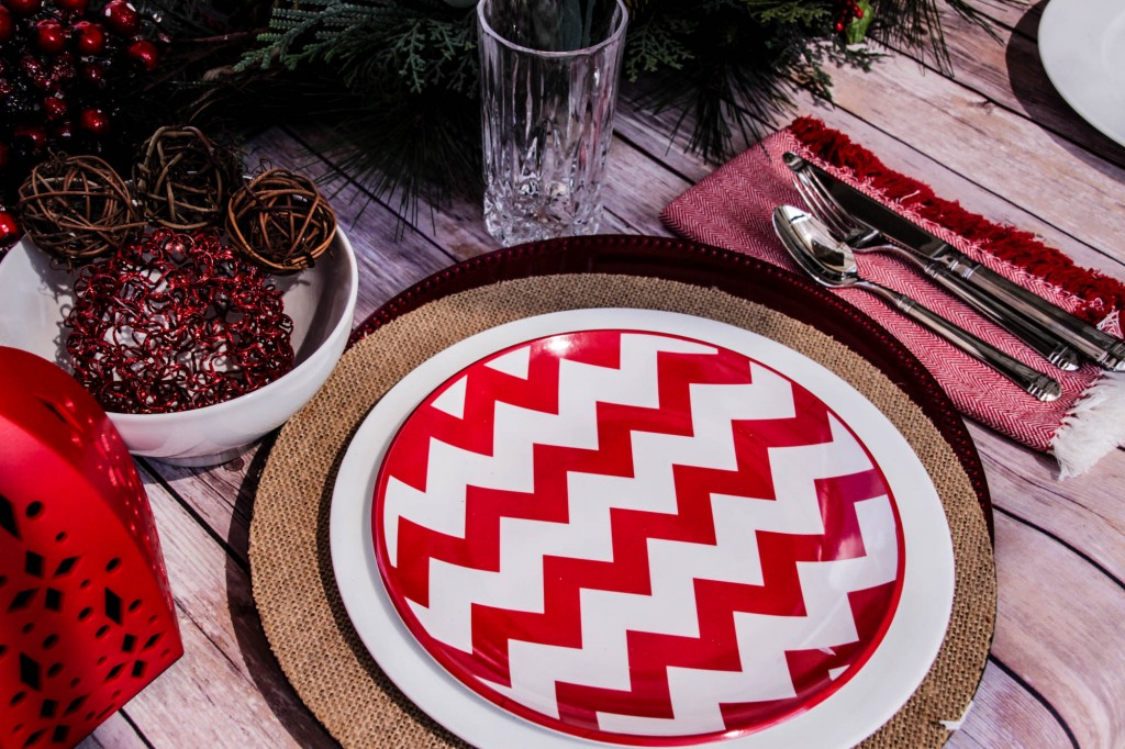 Red and White Chevon Natural Christmas Tablescape-21