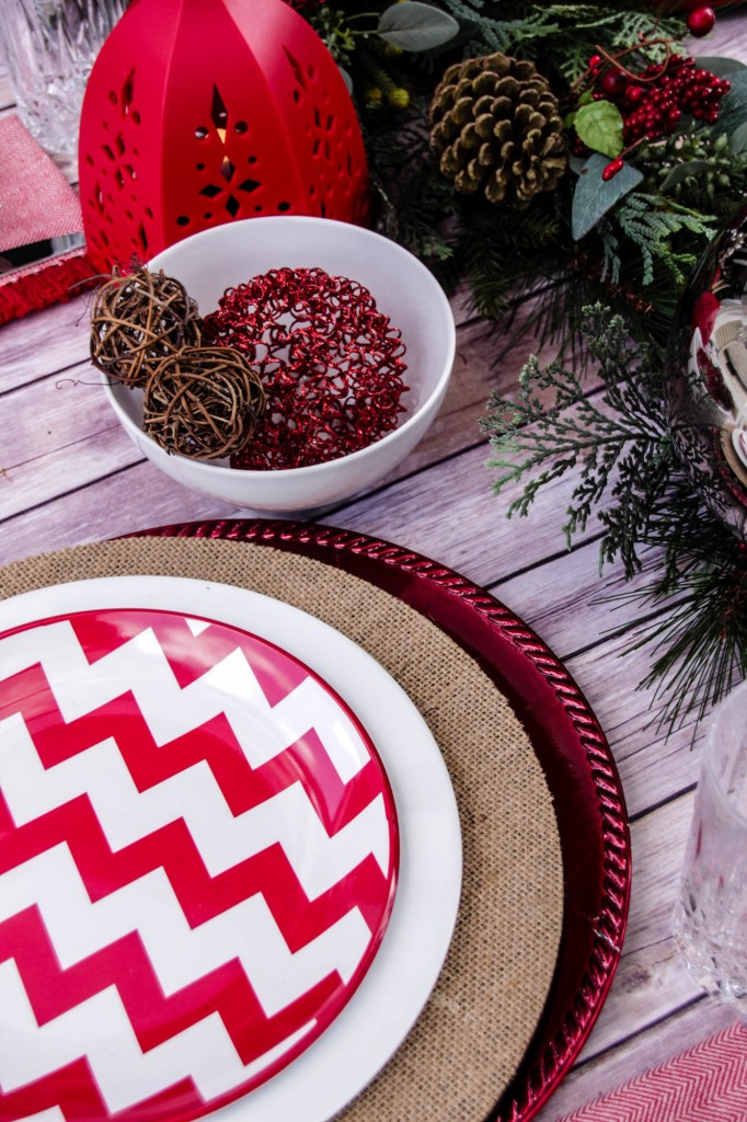Red and White Chevon Natural Christmas Tablescape-26